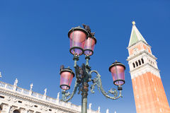San Marco Square - Venice Italy / Doge Palace and bell tower of St. Mark in Piazza San Marco (St. Mark Square) in the city of Vene Royalty Free Stock Photos
