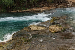 San Marcos chute. One of the three chutes along the San Marcos River known as Rio Vista Falls, great for tubers, canoers, kayakers and rafters, San Marcos, Texas stock image