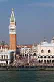 San Marcos Square. Piazza San Marcos in Venice, Italy with its famous bell tower and Basilica Royalty Free Stock Images