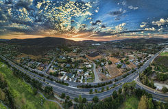 San Marcos sunset. Sunset in San Marcos, California. This is a 10 image aerial panoramic. San Marcos is in North county San Diego royalty free stock photo