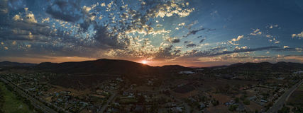 San Marcos sunset. Sunset in San Marcos, California. This is a 5 image aerial panoramic taken with a Phantom Drone Quadcopter. San Marcos is in North county San stock images