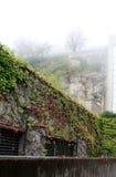 San marino Ściana z rośliną i mgłą, mgła na białym nieba tle, pionowo widok Obraz Royalty Free