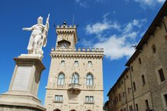 San Marino. Liberty statue and pubblic palace, San Marino republic, Italy Stock Photo