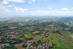 San Marino. Panoramic view of San Marino republic, Italy Stock Photos