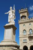 San Marino. Liberty statue and public palace, San Marino republic, Italy Royalty Free Stock Photography