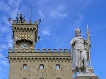 San Marino. Public Palace and Statue of Liberty in San Marino. Italy Stock Photography