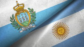 San Marino and Argentina two flags textile cloth, fabric texture. San Marino and Argentina flags together textile cloth, fabric texture stock illustration
