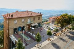 San Marino, San Marino - 10 August 2017: A general view of a street in the city center of San Marino. San Marino, San Marino - 10 August 2017: A general view of Stock Images