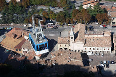 San Marino with cable railway. Republic  San Marino wit cable railway, Italy Royalty Free Stock Image