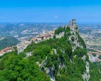 San Marino Castle, Republiken San Marino arkivbild