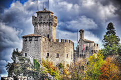 San Marino castle under grey clouds Royalty Free Stock Photography