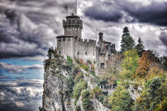 San Marino castle under an overcast sky Royalty Free Stock Photo