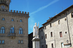 San Marino. City Hall and statue of Liberty in central square.  Royalty Free Stock Photography