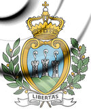 San Marino Coat of Arms. 3d Rendered San Marino Coat of Arms Royalty Free Stock Photography
