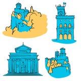 San Marino Colored Landmarks Stock Photo
