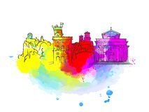 San Marino Colorful Landmark Banner. Beautiful hand drawn vector sketch. Travel illustration for social media marketing and print advertising Stock Images