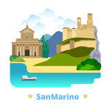 San Marino country design template Flat cartoon st Royalty Free Stock Photography