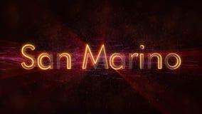 San Marino - de Glanzende het van een lus voorzien animatie van de de naamtekst van het land stock afbeeldingen