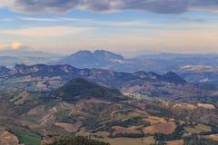San Marino districts. Horizontal shot. Modern San Marino Suburban districts and Italian hills view from above. Horizontal shot Stock Photography