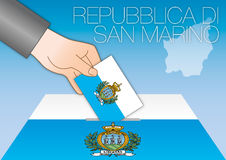 San Marino, elections, ballot box with flags Stock Photography