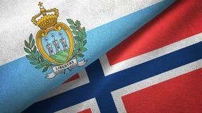 San Marino en Noorwegen twee vlaggen textieldoek, stoffentextuur royalty-vrije illustratie