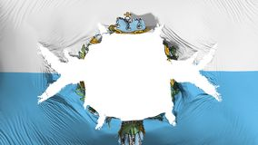 San Marino flag with a big hole. White background, 3d rendering royalty free illustration