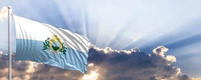 San Marino flag on blue sky. 3d illustration Stock Image