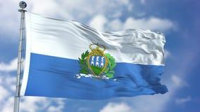 San Marino Flag in een Blauwe Hemel Royalty-vrije Stock Afbeeldingen