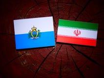 San Marino flag with Iranian flag on a tree stump isolated. San Marino flag with Iranian flag on a tree stump Royalty Free Stock Photos