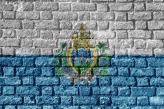 San Marino Flag Painted on brick wall nice Stock Images