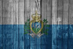 San Marino    FLAG PAINTED ON WOOD cool Royalty Free Stock Images