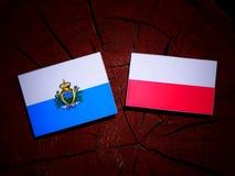 San Marino flag with Polish flag on a tree stump isolated. San Marino flag with Polish flag on a tree stump royalty free illustration