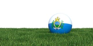 San Marino flag soccer ball lying in grass world cup 2018. Isolated on white background. 3D Rendering, Illustration Royalty Free Stock Photos