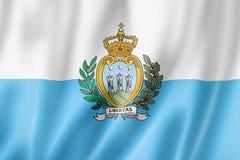 San Marino flag. Three dimensional render, satin texture vector illustration