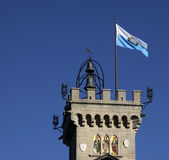 San Marino Flag and Tower Stock Photo