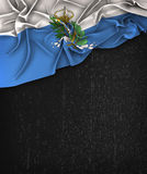 San Marino Flag Vintage på en svart tavla för Grungesvart Royaltyfria Foton
