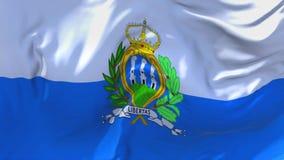 San Marino Flag Waving en fondo inconsútil continuo del lazo del viento stock de ilustración