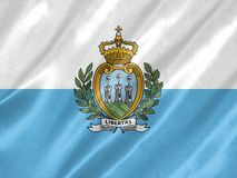San Marino Flag. With waving on satin texture royalty free illustration