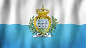 San Marino flag waving in the wind. Closeup of realistic flag with highly detailed fabric texture