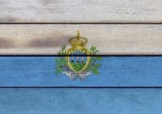 San Marino flag on a wood Royalty Free Stock Photo
