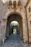 San marino gate in medieval castle wall. Repubblica di San Marino stock photos