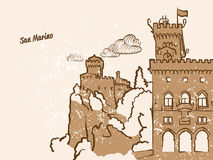 San Marino Greeting Card. Hand drawn image, famous european capital, vintage style, vector Illustration Stock Photo