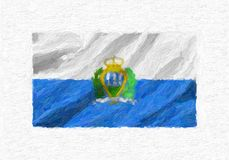 San Marino hand painted waving national flag, oil paint isolated. On white canvas, 3D illustration Stock Photography