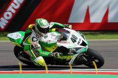 San Marino Italien - Maj 12: Laget för Romà ¡ n Ramos ESP Kawasaki ZX-10R GÅR ELVA i handling Arkivfoto