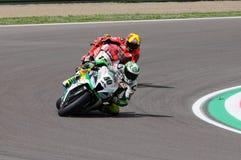 San Marino Italien - Maj 12: Laget för Romà ¡ n Ramos ESP Kawasaki ZX-10R GÅR ELVA i handling Royaltyfri Foto