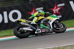 San Marino Italien - Maj 12: Laget för Romà ¡ n Ramos ESP Kawasaki ZX-10R GÅR ELVA i handling Royaltyfri Fotografi
