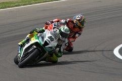 San Marino Italien - Maj 12: Laget för Romà ¡ n Ramos ESP Kawasaki ZX-10R GÅR ELVA i handling Arkivfoton