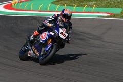 San Marino Italy - 12. Mai: Michael-Packwagen der Mark NED Yamaha YZF R1 Pata Yamaha Official Team SBK Rizla, in der Aktion Stockfotografie