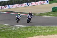 San Marino Italy - 12. Mai: Michael-Packwagen der Mark NED Yamaha YZF R1 Pata Yamaha Official Team SBK Rizla, in der Aktion Lizenzfreies Stockbild