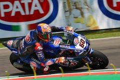 San Marino Italy - 11. Mai 2018: Team Michael-Packwagen der Mark NED Yamahas YZF R1 Pata Yamaha Official WorldSBK, in der Aktion Stockfotografie